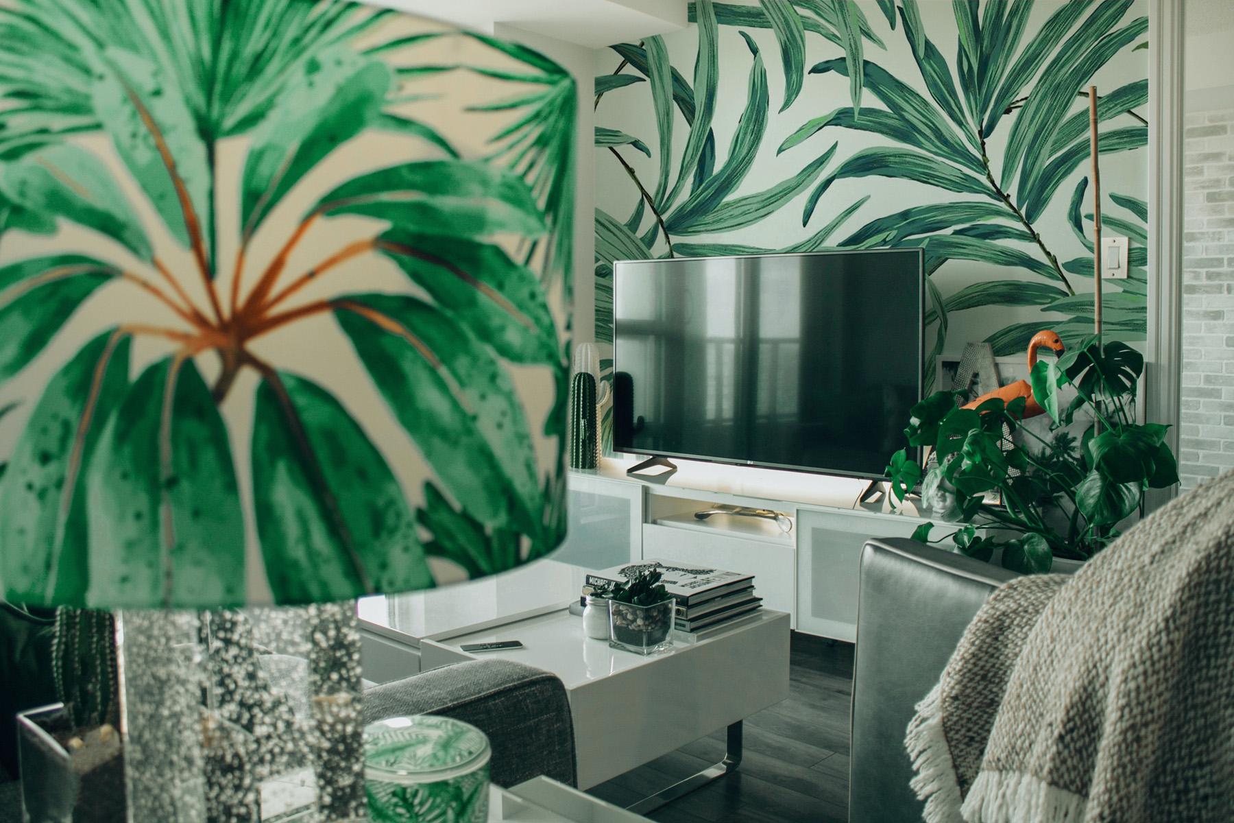 Green interior design living room